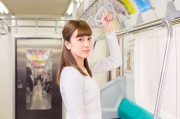 girl on the train in Japan